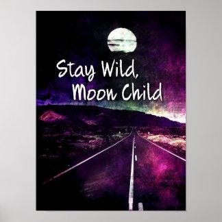 Poster Route pourpre de nuit de lune de séjour de