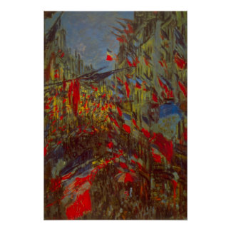 Poster Rue Montorgueil avec des drapeaux par Claude Monet