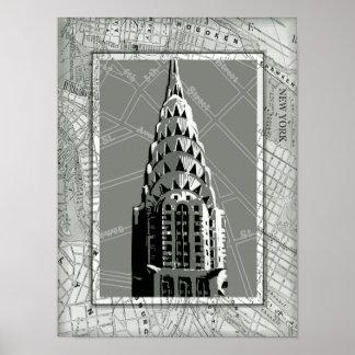 Poster Rues de New York avec l'Empire State Building