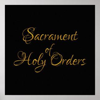 Poster Sacrement du regard 3D d'or d'ordres saints