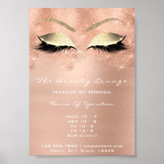 Poster Salon de beauté blanc de parties scintillantes