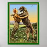 Poster Salutation de chien-loup irlandais