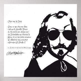Poster Samuel Champlain Hipster texte du future+lunettes