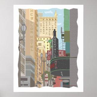 Poster San Francisco-Powell et rues d'O'Farrell