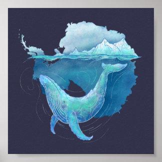 Poster Sanctuaire de baleine d'océan du sud