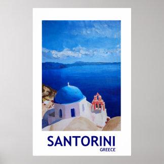 Poster Santorini Grèce - rétro affiche II de style