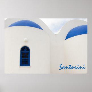 Poster Santorini - une petite église blanche avec les