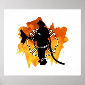 Poster Sapeur-pompier EN flammes