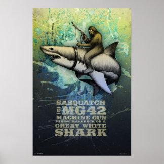 Poster Sasquatch montant un grand requin blanc