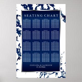 Poster Satin de bleu marine et blanc et argent -
