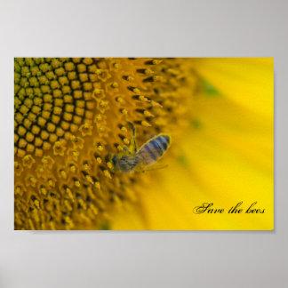 Poster Sauver et les abeilles. de protéger