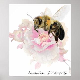 Poster Sauvez l'abeille ! Sauvez le monde ! Jolie abeille