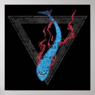 Poster sauvez notre triangle des requins SOS