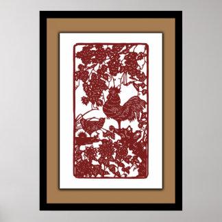 Poster Scène chinoise de Papercut de coq de zodiaque