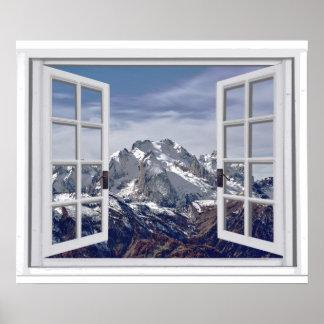Poster Scène de fenêtre de Faux couverte par neige de
