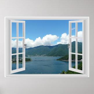 Poster Scène de fenêtre de Faux de lac mountain