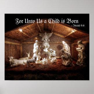 Poster Scène de Manger de nativité de Jésus d'avènement