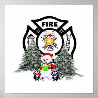 Poster Scène de Noël de département du feu
