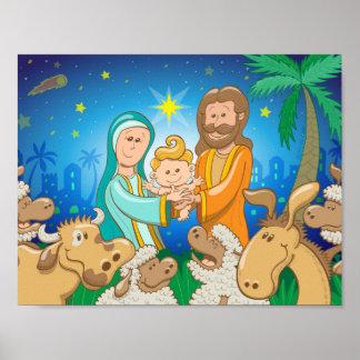 Poster Scène douce de la nativité du bébé Jésus