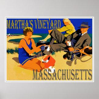 Poster Scène vintage de plage de Martha's Vineyard