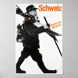 Poster Schweiz, affiche de ski de voyage