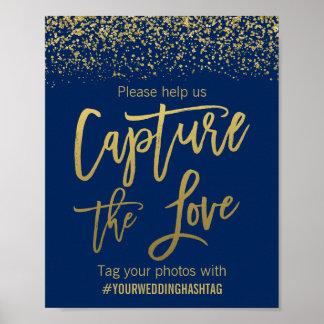 Poster Scintillement de Faux d'or de bleu marine épousant