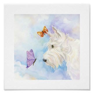 "Poster Scottie et papillons, 10"" x 10"" copie"