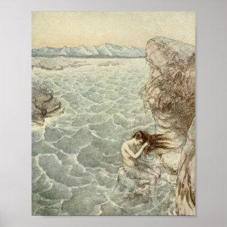 Poster Se baigner dans une crique de mer