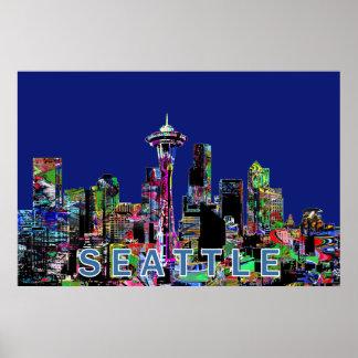 Poster Seattle dans le graffiti