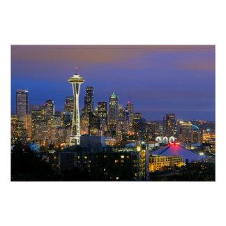 Poster Seattle vu du parc de Kerry dans la Reine Anne