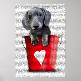 Poster Seaux de chiot de teckel d'amour