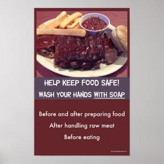 Poster Sécurité alimentaire - affiche de lavage de main