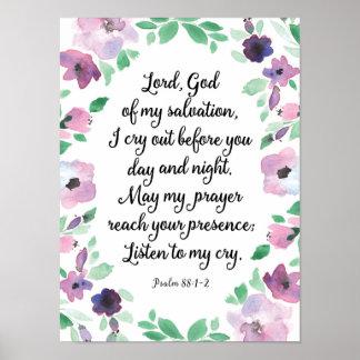 Poster Seigneur God de ma copie d'art du psaume 88 de