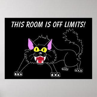 Poster Séjour hors de mon affiche de chat de noir animal