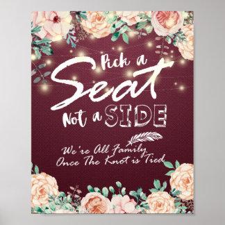 Poster Sélectionnez Seat pas une affiche florale latérale