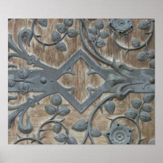 Poster Serrure médiévale de fer sur la porte en bois