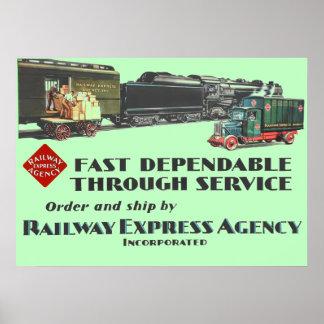 Poster Service fiable rapide exprès de chemin de fer