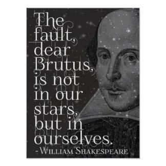 Poster Shakespeare - chère affiche de citation de Brutus