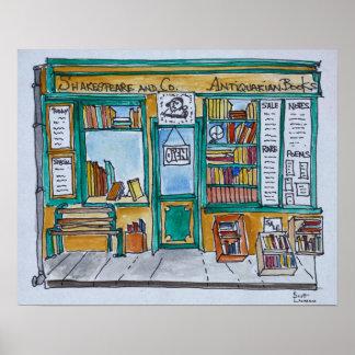 Poster Shakespeare et librairie | la Seine, Paris de Cie.