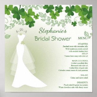 Poster shamrock irlandais, robe, menu nuptiale de douche