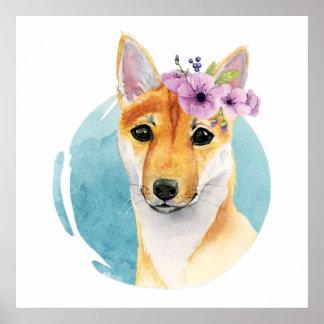 Poster Shiba Inu avec la peinture d'aquarelle de couronne