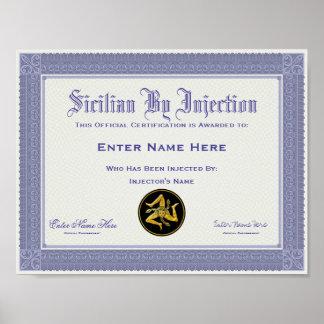 Poster Sicilien par la certification d'injection drôle