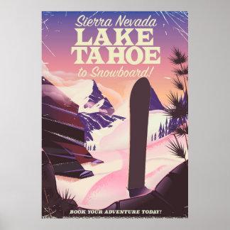 Poster Sierra Nevada Etats-Unis du lac Tahoe faisant du