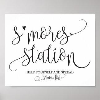 Poster Signage de partie de faveur de station de S'mores