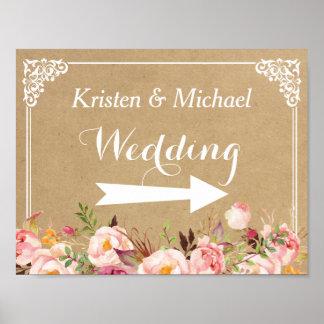 Poster Signal de direction l'épousant floral rustique de