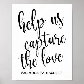 Poster Signe 8x10 noir et blanc de Hashtag de mariage