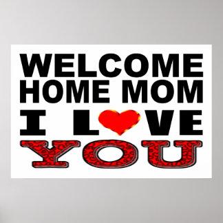 Poster Signe à la maison bienvenu de maman je t'aime