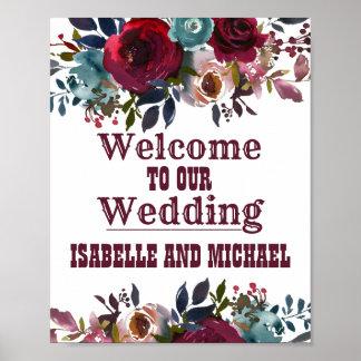 Poster Signe bienvenu Bourgogne de mariage floral