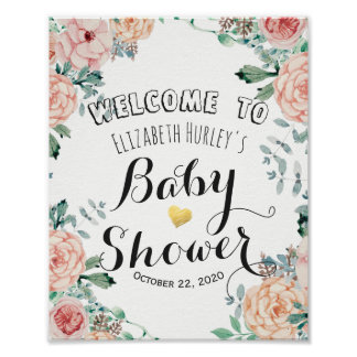 Poster Signe bienvenu de baby shower floral élégant