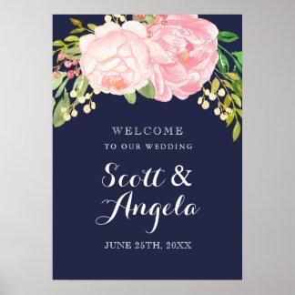 Poster Signe bienvenu de belle pivoine rose (20x28)